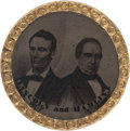 Political:Ferrotypes / Photo Badges (pre-1896), Lincoln & Hamlin: A Scarce 1860 Jugate Ferrotype....