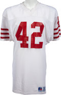 Football Collectibles:Uniforms, Circa 1985-86 Ronnie Lott Game Worn San Francisco 49ers Jersey, MEARS A10 - Multiple Team Repairs! ...