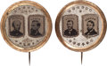 Political:Ferrotypes / Photo Badges (pre-1896), Grant & Colfax and Seymour & Blair: A Superb Matched Pairof Large-size 1868 Ferrotype Jugates. ...