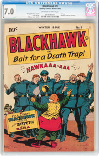 Blackhawk #9 (Quality, 1944) CGC FN/VF 7.0 Off-white to white pages