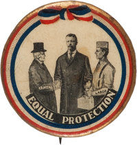 Theodore Roosevelt: Mediator of Capital and Labor Cartoon Button