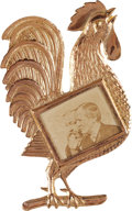 Political:Ferrotypes / Photo Badges (pre-1896), Harrison & Morton: Pristine Jugate Rooster Badge....