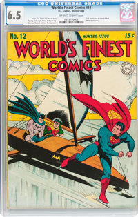 World's Finest Comics #12 (DC, 1943) CGC FN+ 6.5 Off-white to white pages