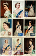 Miscellaneous:Postcards, [Postcards]. Group of Nine Postcards Depicting Queen Elizabeth II.Ca. 1950s. Each has a commemorative stamp tipped onto the...