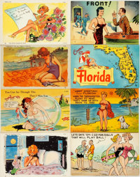 [Postcards]. Group of Eight Comic Color Postcards. Curt Teich & Co., [n.d., ca. 1940s-1960s]. One is used, else gene...