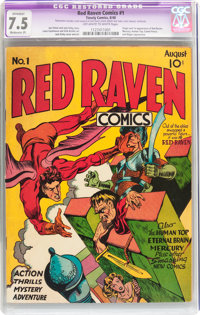 Red Raven Comics #1 (Timely, 1940) CGC Apparent VF- 7.5 Moderate (P) Off-white to white pages