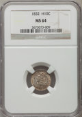 Bust Half Dimes: , 1832 H10C MS64 NGC. NGC Census: (153/117). PCGS Population(100/107). Mintage: 965,000. Numismedia Wsl. Price for problem f...