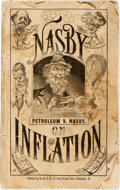 Books:Americana & American History, [David Locke]. Nasby on Inflation. A New Comic Book by PetroleumNasby. Philadelphia: Barclay, [1875]. Octavo. 80 p...