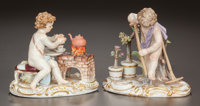 TWO GERMAN PAINTED PORCELAIN FIGURAL GROUPS, Meissen Porcelain Manufactory, Meissen, Germany, circa 1900 Marks to