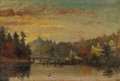 Fine Art - Painting, American:Antique  (Pre 1900), AMERICAN SCHOOL (19th Century). Sunset Over River Crossing.Oil on paper laid on board. 3-1/4 x 4-1/4 inches (8.3 x 10.8...