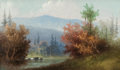 Fine Art - Painting, American:Modern  (1900 1949)  , AMERICAN SCHOOL (20th Century). Mount Washington, NewHampshire. Oil on canvas laid on board. 2-1/2 x 4-3/4 inches(6.4 ...