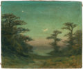 Fine Art - Painting, American:Modern  (1900 1949)  , FREDERICK HATFIELD CLARK (American, 1862-1947). Crescent MoonThrough the Trees. Oil on canvas. 10 x 12 inches (25.4 x 3...