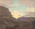 Fine Art - Painting, American:Modern  (1900 1949)  , DEWITT PARSHALL (American, 1864-1956). Sundown, GrandCanyon. Oil on canvas laid on board. 4 x 5 inches (10.2 x 12.7cm)...