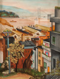 Fine Art - Painting, American:Modern  (1900 1949)  , Manner of OTIS OLDFIELD (American, 1890-1969). San FranciscoWaterfront from Telegraph Hill, circa 1930. Oil on artists'...