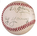 Autographs:Baseballs, Circa 1940 Cy Young Single Signed Baseball to Prominent Ohio Politician....