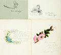 Autographs:Authors, Group of Four Autographs with Hand-Drawn Illustration. Various dates and sizes. Overall very good. . ...