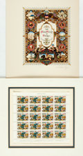 "Autographs:Artists, Arthur Szyk. Page of Stamps Designed and Signed by Arthur Szyk.1950. Measures 7.75"" x 7"". Matted. Fine. ..."