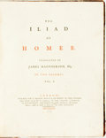 Books:Literature Pre-1900, James Macpherson, translator. Homer. The Iliad. London: T. Becket and P.A. de Hondt, 1773. One quarto volume only, o...