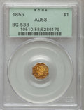 California Fractional Gold: , 1855 $1 Liberty Octagonal 1 Dollar, BG-533, Low R.4, AU58 PCGS. PCGS Population (32/32). NGC Census: (6/9). ...