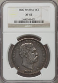 Coins of Hawaii, 1883 $1 Hawaii Dollar XF45 NGC. NGC Census: (65/209). PCGSPopulation (169/263). Mintage: 500,000....