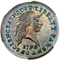 1792 P1C One Cent, Judd-1, Pollock-1, High R.6, MS64 Brown PCGS Secure. CAC...(PCGS# 11001)