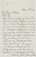 Autographs:Others, 1937 Jimmy Collins Handwritten Signed Letter....