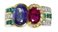 Estate Jewelry:Rings, Ruby, Sapphire, Emerald, Diamond, Gold Ring. The ring ishighlighted by an oval-shaped sapphire measuring 10.50 x 7.50 x4...