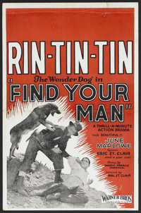 "Find Your Man (Warner Brothers, 1924). Window Card (14"" X 22""). Action. Starring June Marlowe, Rin Tin Tin, Er..."