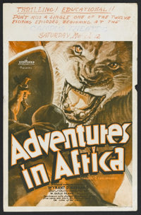 "Adventures in Africa (Warner Brothers, 1931). Window Card (14"" X 22""). Documentary Serial. Starring Wynant D..."