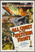 "Movie Posters:War, All Quiet on the Western Front (Realart, R-1950). One Sheet (27"" X41""). War. Starring Lew Ayres, Louis Wolheim, John Wray, ..."