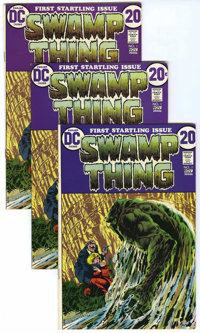 Swamp Thing #1 Group (DC, 1972). This lot includes three copies of #1 which feature a Bernie Wrightson cover and interio...
