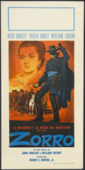 "Movie Posters:Western, Zorro's Fighting Legion (Republic, R-1950s). Italian Locandina (13"" X 27""). Western Serial. Starring Reed Hadley, Sheila Dar..."