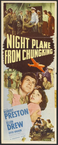 "Movie Posters:War, Night Plane from Chungking (Paramount, 1943). Insert (14"" X 36"").War. Starring Robert Preston, Ellen Drew, Otto Kruger and ..."