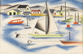 Texas:Early Texas Art - Regionalists, COREEN SPELLMAN (1905-1978). Boats on the Lake, 1959.Watercolor. 14in. x 21in.. Signed and dated lower right. Titledlo...