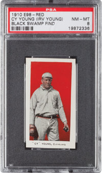 "1910 E98 ""Set of 30"" Cy Young, Red (Black Swamp Find) PSA NM-MT 8 - None Higher!"