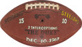 Football Collectibles:Balls, 1967 Paul Krause Painted Presentation Game Used Football - 12/10 Redskins Vs. Steelers. ...
