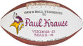 Football Collectibles:Balls, 1977 Paul Krause Painted Presentation Game Used Football - 10/16 Vs. Bears....