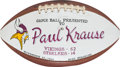 Football Collectibles:Balls, 1969 Paul Krause Painted Presentation Game Used Football - 11/23 Vs. Steelers....
