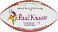 Football Collectibles:Balls, 1975 Paul Krause Painted Presentation Game Used Football - 11/2 Vs. Packers.. ...