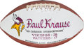 Football Collectibles:Balls, 1975 Paul Krause Painted Presentation Game Used Football - 11/2 Vs. Packers. ...