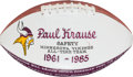 Football Collectibles:Balls, 1985 Minnesota Vikings All Time Team Painted Presentation Football - Paul Krause Collection....
