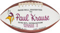 Football Collectibles:Balls, 1971 Paul Krause Painted Presentation Game Used Football - 11/14 Vs. Packers. ...