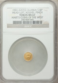 Expositions and Fairs, 1901 Alaska Gold 1/4 Pinch, Round, Head Left MS67 NGC....