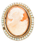 Estate Jewelry:Cameos, Shell Cameo, Pearl, Gold Pendant-Brooch. ...