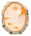 Estate Jewelry:Cameos, Shell Cameo, White Gold Pendant-Brooch. ...