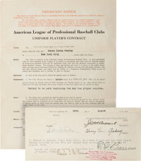 1924 Lou Gehrig Signed New York Yankees Rookie Contract