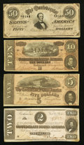 Confederate Notes:Group Lots, Group of 1864 Issues $2, $5, $10, $50.. ... (Total: 4 notes)