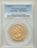 Liberty Eagles, 1859-S $10 -- Cleaning -- PCGS Genuine. XF Details. ...