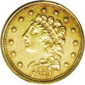 Classic Quarter Eagles: , 1839-C $2 1/2 AU53 PCGS. Variety 3-C, McCloskey-C, Breen-6150, R.3. There are three different die varieties known for the 1...