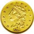 Classic Quarter Eagles: , 1839-O $2 1/2 AU55 NGC. High Date, Wide Fraction, Breen-6152, McCloskey-A, R.3. A nice specimen showing excellent detail fo...